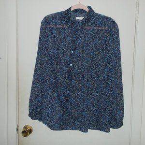 Liz Claiborne Sheer Floral Blouse Size Medium